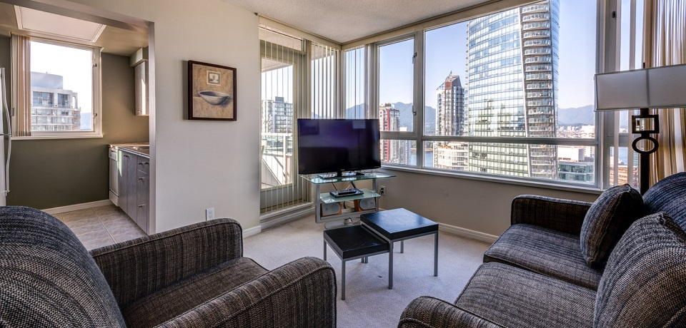 Carmana Plaza Hotel - Downtown Vancouver - Carmana Two Bedroom Suite (view from living room)
